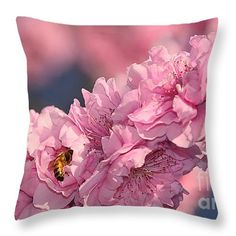 "Bee on Pink Blossoms by Kaye Menner Throw Pillow 14"" x 14"""