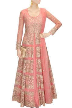 Aneesh Agarwal a rose pink kalidaar in net with floral zari embroidery all over. It comes along with matching floral motif net dupatta.