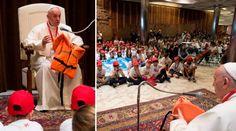 El Papa se emociona al narrar la historia de este chaleco ante decenas de niños 28/05/2016 - 08:56 am .- Hace unos días, el Papa Francisco recibió uno de los regalos más tristes de su Pontificado y hoy tuvo la oportunidad de contar su historia ante decenas de niños que lo visitaron en el Vaticano.