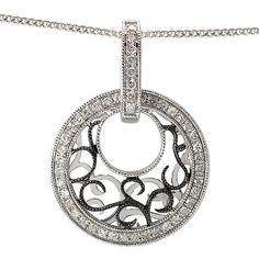 NEW 14k WHITE GOLD CIRCLE ROUND DIAMOND SCROLL DESIGN PENDANT NECKLACE CHARM  #Pendant