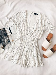 new concept 5ce10 d91bf Cute Stuff Black and White Polka Dot Tie-Sleeve Romper
