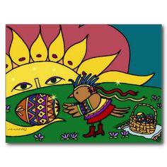 Bird's Gift from the Sun Ukrainian Folk Art Post Card