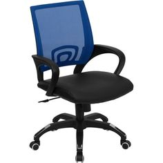 Shop for Rerna Blue Mesh Swivel Adjustable Office Chair with Black Leather Padded Seat. Get free delivery at Overstock.com - Your Online Office Furniture Store! Get 5% in rewards with Club O!