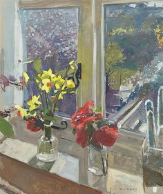 Ken Howard OBE RA - Daffodils and camellias, 2015