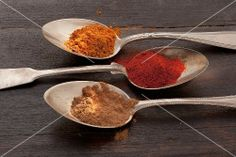 Three spoons of different types of spices