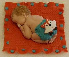 Woodland Fox, Baby Theme Cake Topper, Fox diaper, Fondant Baby Boy with blanket Baby Cake Topper, Cake Baby, Cake Toppers, Diva Cakes, Cupcake Cakes, Cupcakes, Baby Mold, Baby Theme, Fox Baby