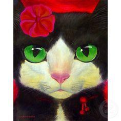 Whimsical Tuxedo Cat Painting