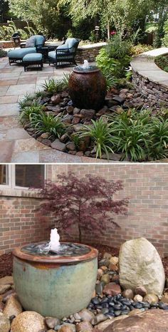 #6. Make a pondless water feature to beauty your outdoor space. (square backyard landscaping)