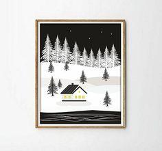 Laminas decorativas laminas casitas ilustracion blanco y