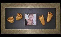 Newborn Baby Casting Kit Keepsake Gift Flat Pine Box Frame Single Black Mount