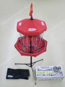 Portable Disc Golf Basket.  I have three.  I can set them up in a triangle anywhere I go.  They open up like an umbrella and set up in less than a minute.  Costs about a c-note.