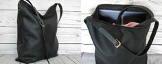 Black leather tote bag real leather tote with zipper slouchy