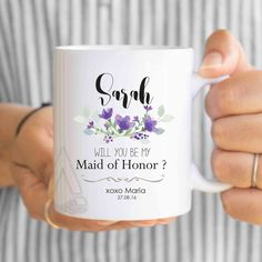 will you be my maid of honor mug, bridesmaid personalized gifts, maid of honor sister gift, maid of honor gift best friend, proposal MU263 by artRuss on Etsy