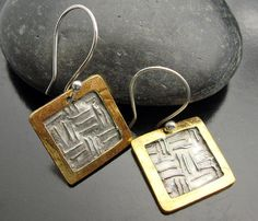 Gold Rush Earrings  Framed silver and Gold by designsbysuzyn, $65.00