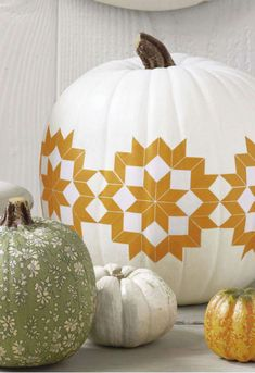 Indian Hippie Inspired white and gold decorated pumpkin!