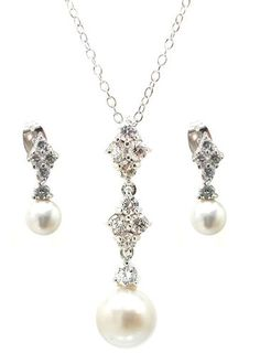 .925 Sterling Silver Rhodium Plated Ornate Pearl Clear Cubic Zirconia Stud Dangling Earring & Dangling Necklace Set