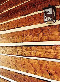Rustic Exterior Siding | Rustic hand-hewn log siding Log Siding, Exterior Siding, Cabin Plans, Shed Plans, Rustic Houses Exterior, Tv Wall Design, Remodels And Restorations, Basement Remodeling, Bathroom Remodeling