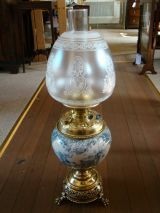 Victorian Blue and White Doulton Base Oil Lamp - Click for details