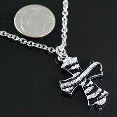 Rhinestone Zebra Cross Necklace