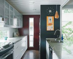 windows as backsplash in a kitchen