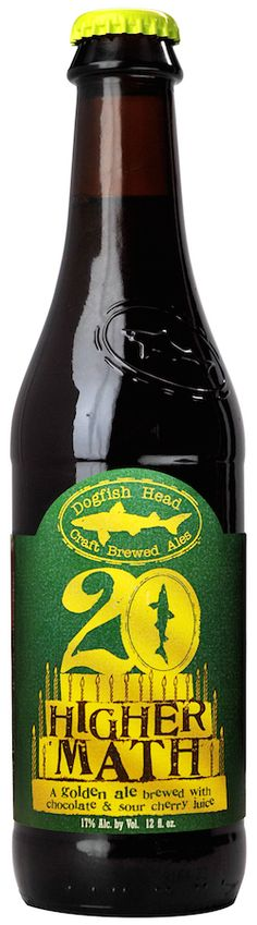 Dogfish Head Higher Math is a 17% ABV golden strong ale fermented with sour cherry juice and cocoa nibs. It's in celebration of Dogfish's 20th birthday this year.
