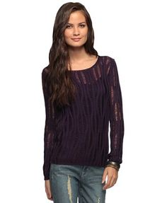 An open knit sweater featuring a wavy pattern, scoop neck and ribbed trimmings. Long sleeves. Loose fit. Semi-sheer. Medium weight. Unlined. Forever21
