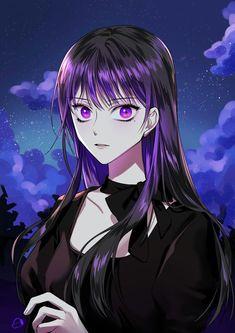 Dark Anime Girl, Cool Anime Girl, Pretty Anime Girl, Female Character Concept, Character Drawing, Character Illustration, Manhwa Manga, Manga Anime, Anime Purple Hair