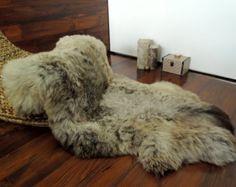 Wonderful Genuine Natural Soft Wool Sheepskin Rug - Brown / Grey Mix - egSN 4 Sheepskin Rug, Vintage Marketplace, Brown And Grey, Lion Sculpture, Wool, Rugs, Natural, Handmade, Etsy