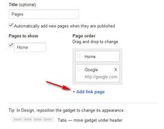 How to create pages in Blogger - navigational menu item, Page to URL