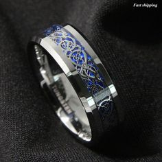 8mm Silver Dragon Tungsten Carbide Men's Ring
