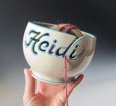 Yarn Bowl - This is great! You can personalize your yarn bowl with any name! Crochet Gifts, Crochet Yarn, Crochet Bowl, Diy Gifts, Unique Gifts, Knitting Patterns, Crochet Patterns, Crochet Ideas, Ideias Diy