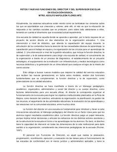 RETOS Y NUEVAS FUNCIONES DEL DIRECTOR Y DEL SUPERVISOR ESCOLAR EN EDUCACIÓN BÁSICA. MTRO. ADOLFO NAPOLEÓN FLORES MTZ. Actu...