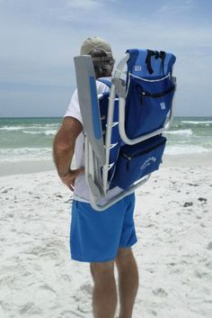 Anyone can carry this lightweight backpack beach chair that keeps hands free for carrying beach bags, coolers or kids.