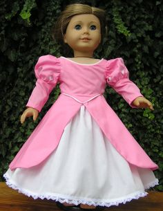 Princess Ariel Original Design Pink Cotton Dress with Petticoat for American Girl or 18 Inch Doll