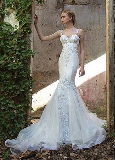 Vestidos de novia de tul maravillosas correas espaguetis escote con apliques de…