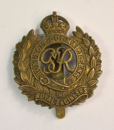 Honi Soit Qui Maly Pense 1930s Cap Badge Royal Engineers George VI Cap Badge Vintage Military Fancy Dress Stage Prop British Military Cap Badge Military Collectible by FillyGumbo