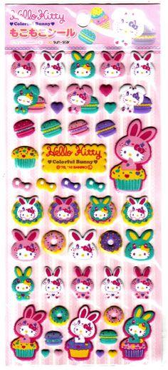 Sanrio+Japan+Hello+Kitty+Colorful+Bunny+Fuzzy+Sticker+Sheet+by+Sun-Star+(A)+2010+Kawaii