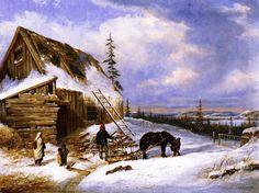 """Log Cabin, Winter Scene, Lake St Charles"" by Cornelius Krieghoff Canadian Painters, Canadian Artists, Oil Painting For Sale, Paintings For Sale, Painting Art, Winter Szenen, Cornelius, Winter Beauty, Landscape Art"