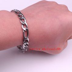 Lot Of 5Pcs Nk Curb Link Chain Bracelet Stainless Steel Jewelry Silver For Men