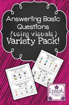 Answering Basic WH Questions Using Visuals Variety Pack - perfect for speech and language therapy