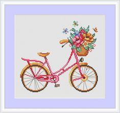Four seasons bicycles Cross Stitch Pattern Modern cross stitch Bike Spring Embroidery Flower cross stich baby room wall decor Beaded Cross Stitch, Cross Stitch Embroidery, Embroidery Patterns, Modern Cross Stitch Patterns, Counted Cross Stitch Patterns, Baby Room Wall Decor, Types Of Stitches, Cross Stitching, Needlework