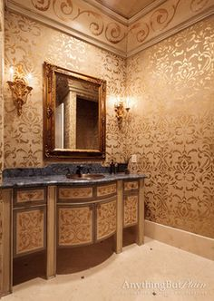 Golden Masterpiece - traditional - bathroom - houston - Anything But Plain, Inc.
