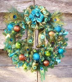 Aqua, lime, green, turquoise - baubles, feathers wreath - So pretty!