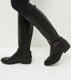 Black Strap Front Elasticated Panel Knee High Boots