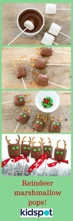 SO MANY RUDOLPHS! Would your kids love these easy Reindeer Marshmallow Pops?