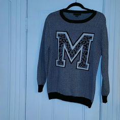 M Varsity sweater Warm thick knit Varsity sweater with the letter M on the front. True to size has a bit of stretch. Only worn a few times in great condition. Forever 21 Sweaters