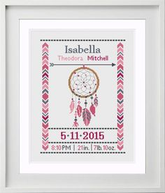 Baby Birth Announcement Ideas Thank You Cards Birth Announcement With Dog Etsy Baby Cross Stitch Patterns, Cross Stitch For Kids, Simple Cross Stitch, Cross Stitch Baby, Modern Cross Stitch, Cross Stitching, Cross Stitch Embroidery, Birth Announcement Girl, Cross Stitch Letters