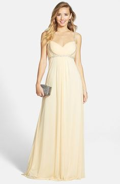 """Free shipping and returns on JS Boutique Embellished Chiffon Empire Waist Gown at Nordstrom.com. <p><B STYLE=""""COLOR:#990000"""">Pre-order this style today! Add to Shopping Bag to view approximate ship date. You'll be charged only when your item ships.</b></p><br>Sparkling crystals trace the straps, bodice and waist of a cheerful chiffon gown designed to elegantly float away from the body as it falls from the stunning Empire waist."""