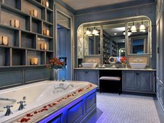 Looking for French Country Bathroom ideas? Browse French Country Bathroom images for decor, layout, furniture, and storage inspiration from HGTV. Romantic Bathrooms, Beautiful Bathrooms, Country Baths, Country Bathrooms, Blue Bathrooms, Luxury Bathrooms, Master Bathrooms, Country Kitchens, Spiegel Design