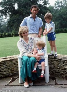 Charles and Diana at Highgrove with the boys and a pet rabbit 1986